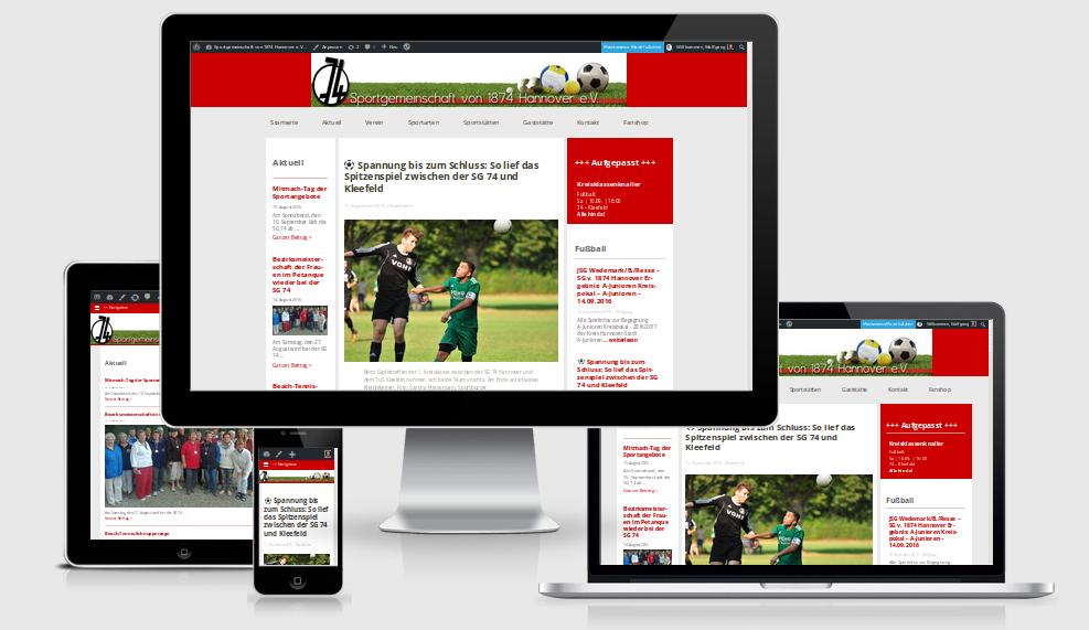 Screenshot der neuen Website auf vier verschiedenen Viewports